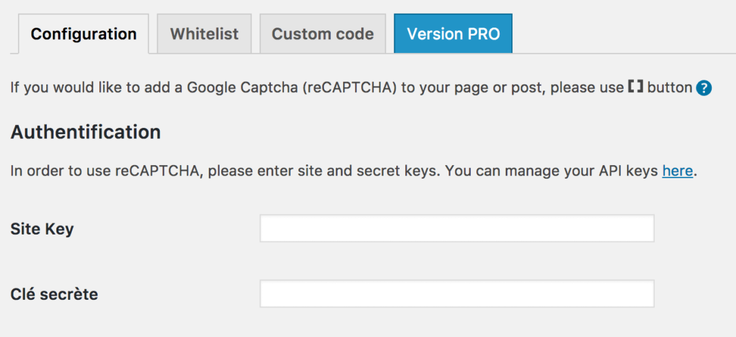 configuration recaptcha wordpress