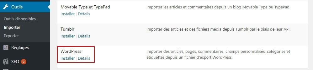 outil importation wordpress