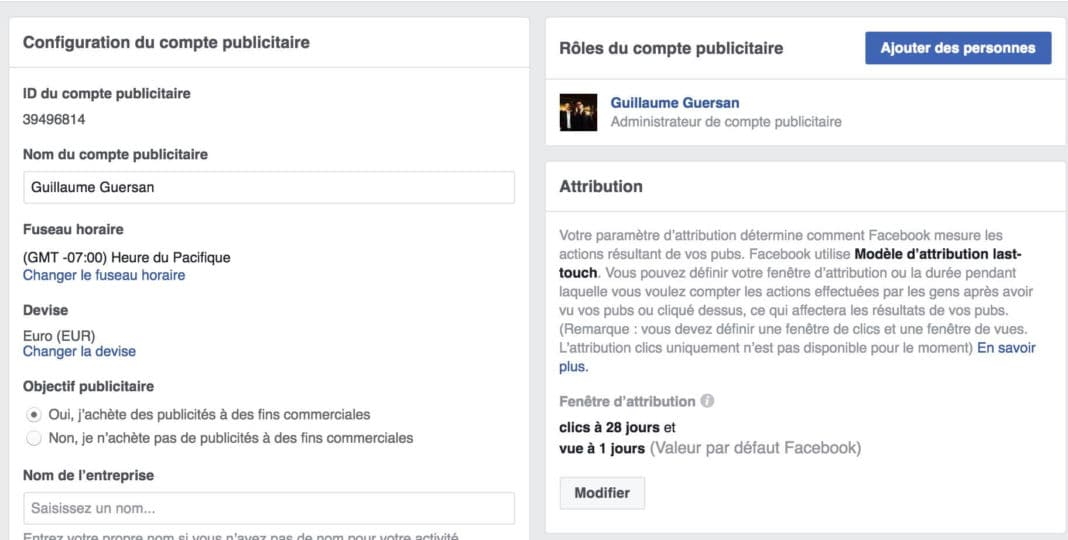 parametres compte facebook ads
