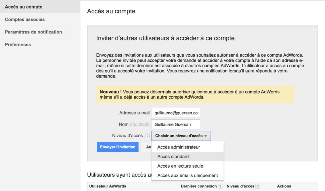 donner acces compte adwords