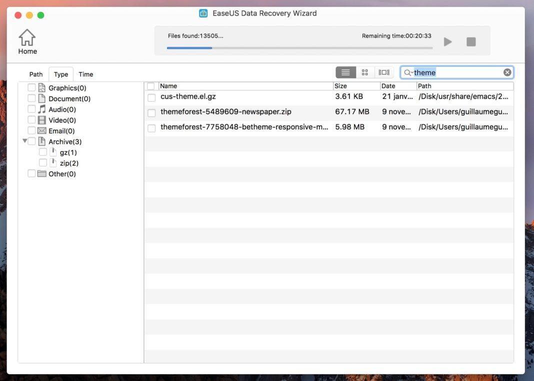 filtrer récupérer fichiers supprimer mac