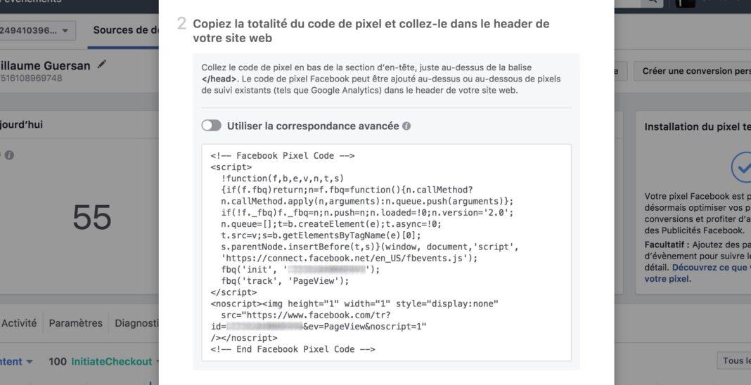 code suivi pixel facebook