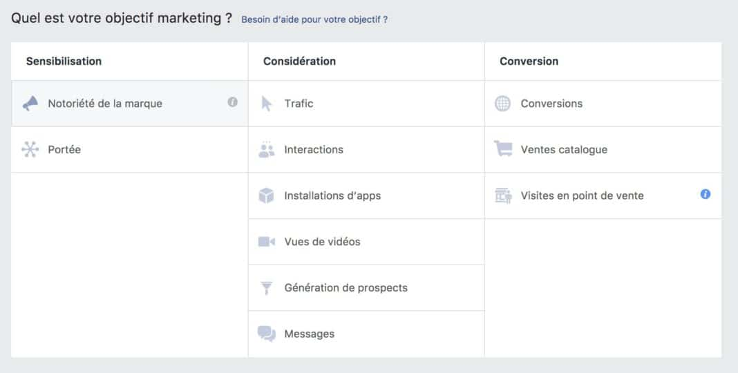 objectif facebook ads conversions