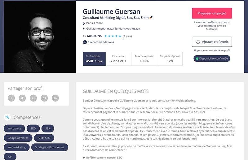 malt freelance profil