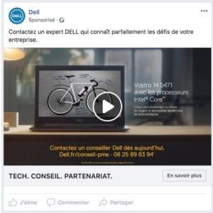 exemple publicité dell facebook native
