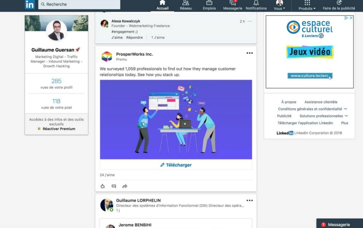 exemple publicité native linkedin