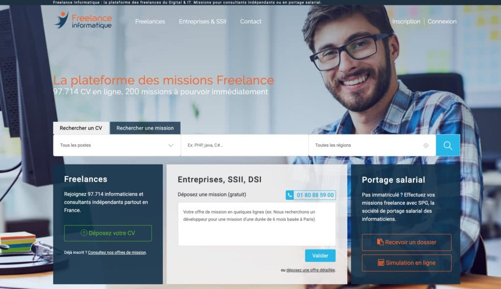 Page accueil plateforme-freelance-informatique.fr